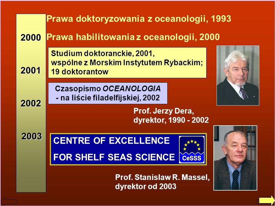 Czasopismo OCEANOLOGIA - na liście filadelfijskiej, 2002