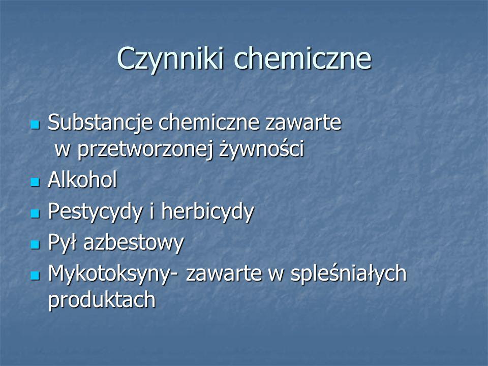 Czynniki chemiczne Substancje chemiczne zawarte w przetworzonej żywności. Alkohol. Pestycydy i herbicydy.