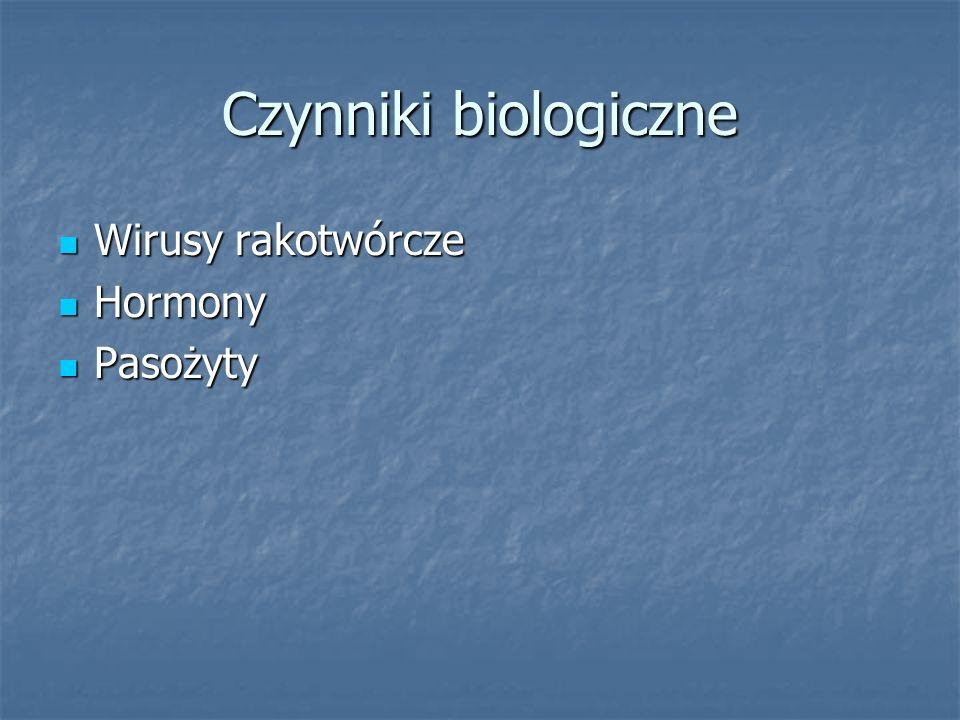 Czynniki biologiczne Wirusy rakotwórcze Hormony Pasożyty