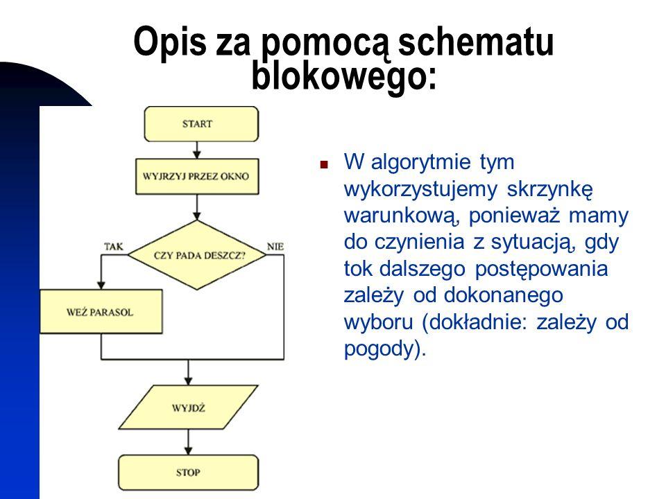 Opis za pomocą schematu blokowego: