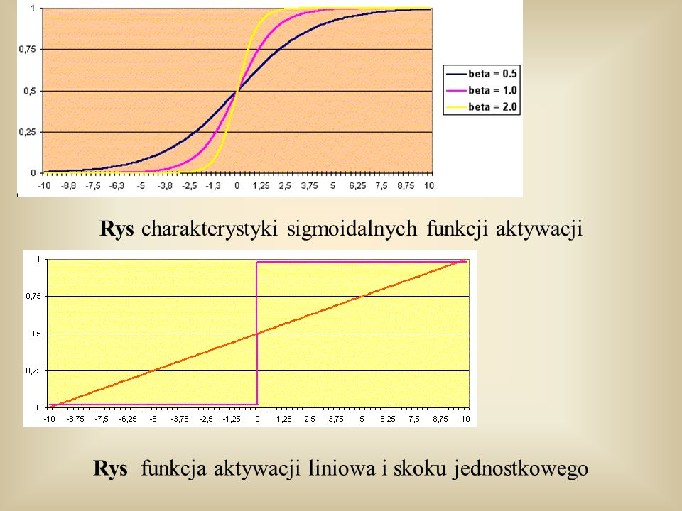 Rys charakterystyki sigmoidalnych funkcji aktywacji
