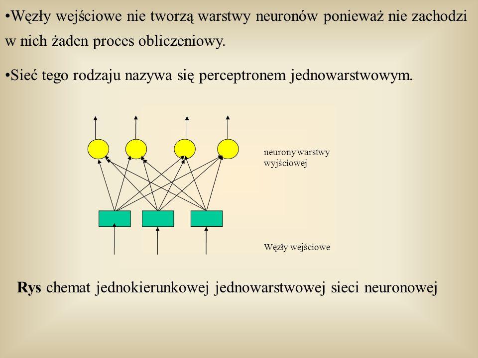 Sieć tego rodzaju nazywa się perceptronem jednowarstwowym.