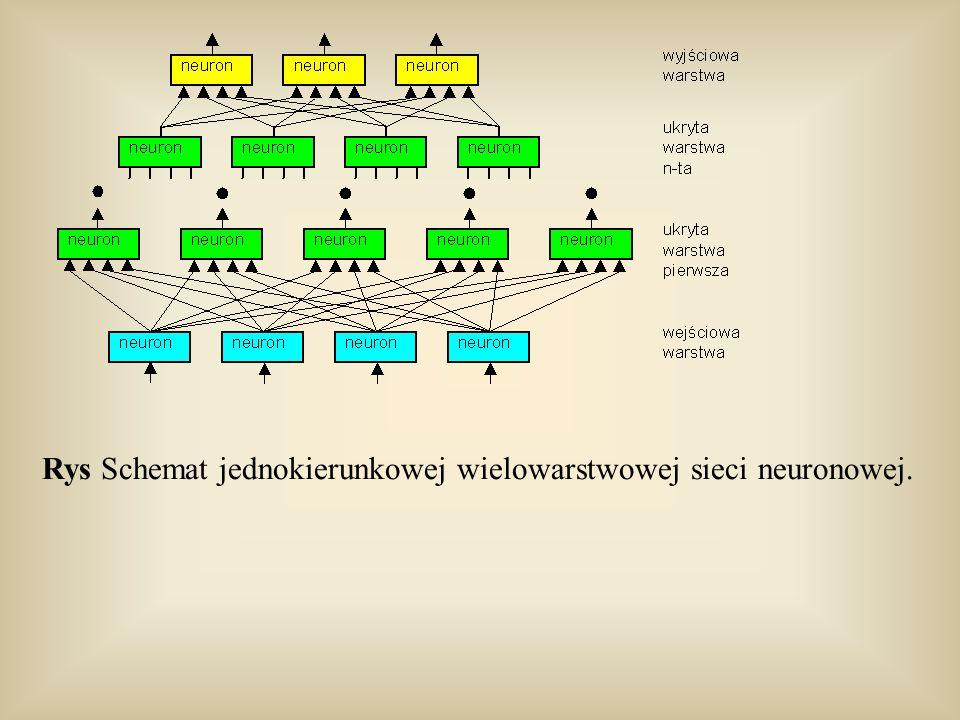 Rys Schemat jednokierunkowej wielowarstwowej sieci neuronowej.