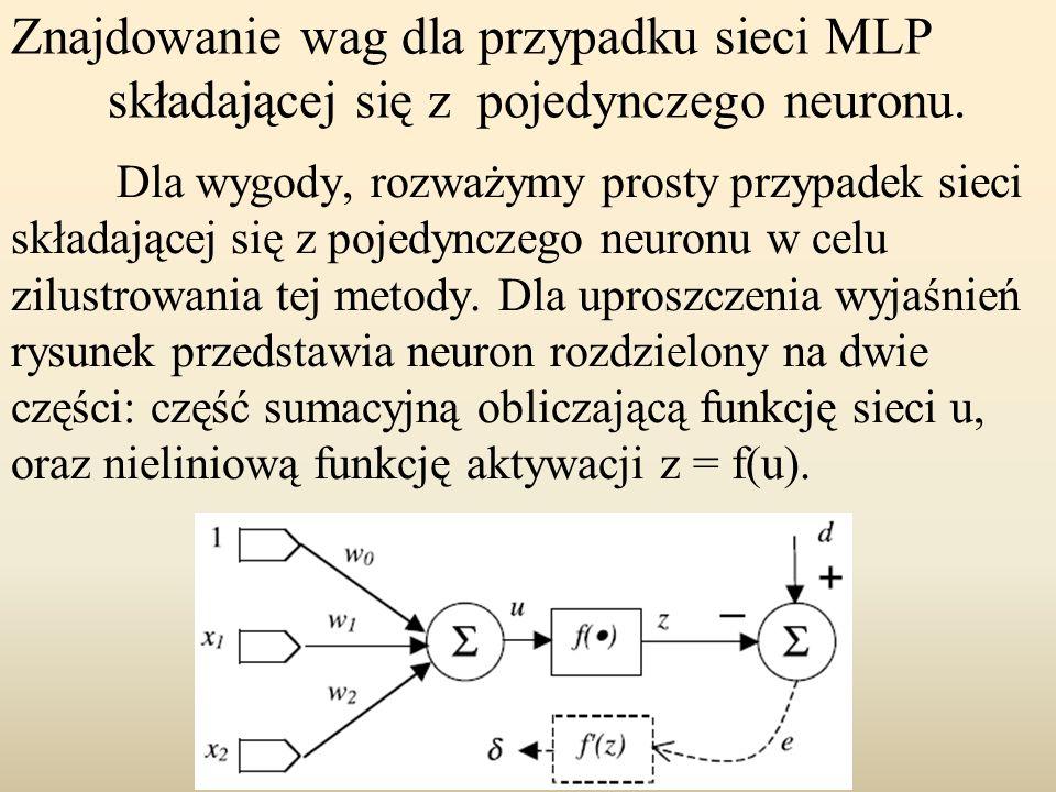 Znajdowanie wag dla przypadku sieci MLP składającej się z pojedynczego neuronu.