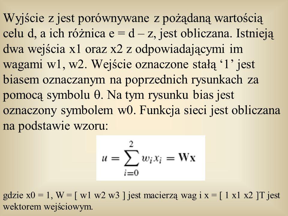Wyjście z jest porównywane z pożądaną wartością celu d, a ich różnica e = d – z, jest obliczana. Istnieją dwa wejścia x1 oraz x2 z odpowiadającymi im wagami w1, w2. Wejście oznaczone stałą '1' jest biasem oznaczanym na poprzednich rysunkach za pomocą symbolu . Na tym rysunku bias jest oznaczony symbolem w0. Funkcja sieci jest obliczana na podstawie wzoru: