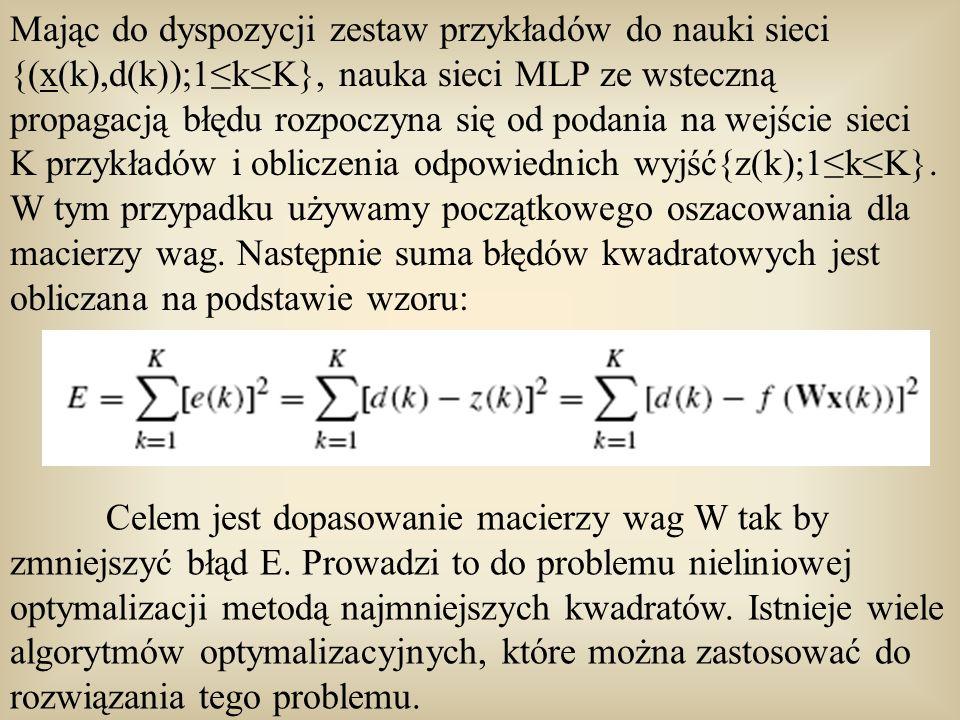 Mając do dyspozycji zestaw przykładów do nauki sieci {(x(k),d(k));1≤k≤K}, nauka sieci MLP ze wsteczną propagacją błędu rozpoczyna się od podania na wejście sieci K przykładów i obliczenia odpowiednich wyjść{z(k);1≤k≤K}. W tym przypadku używamy początkowego oszacowania dla macierzy wag. Następnie suma błędów kwadratowych jest obliczana na podstawie wzoru:
