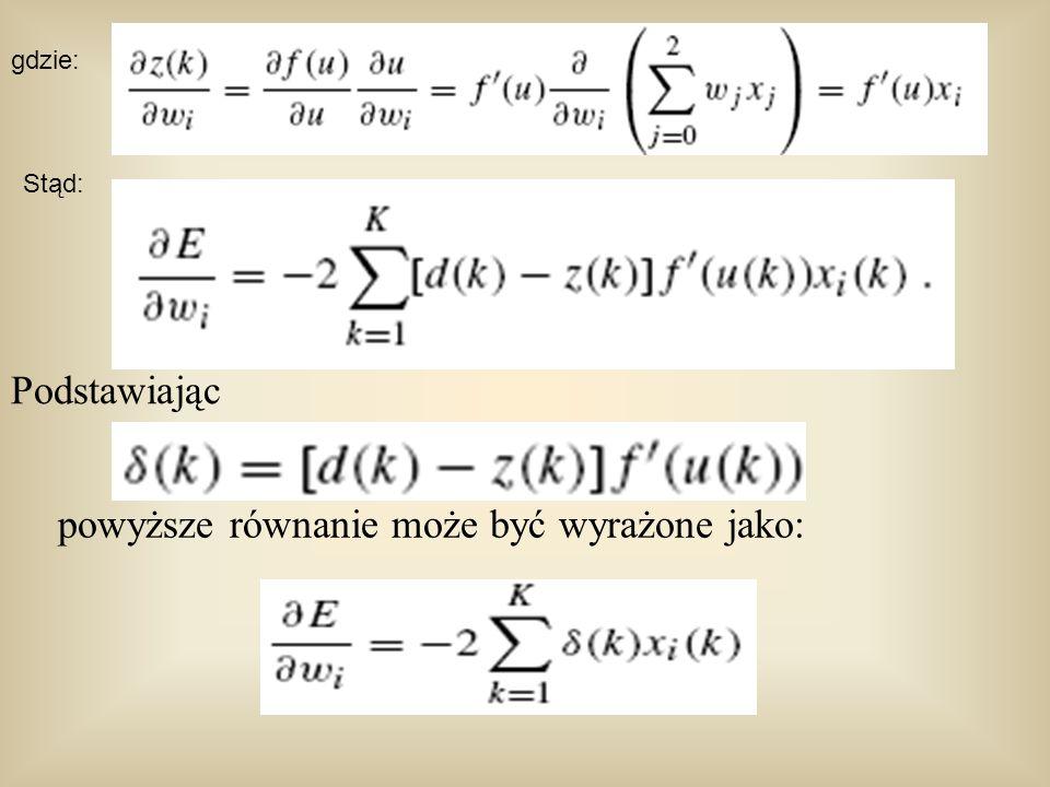 powyższe równanie może być wyrażone jako: