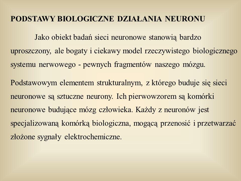 PODSTAWY BIOLOGICZNE DZIAŁANIA NEURONU