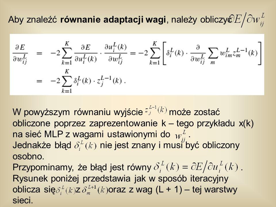Aby znaleźć równanie adaptacji wagi, należy obliczyć