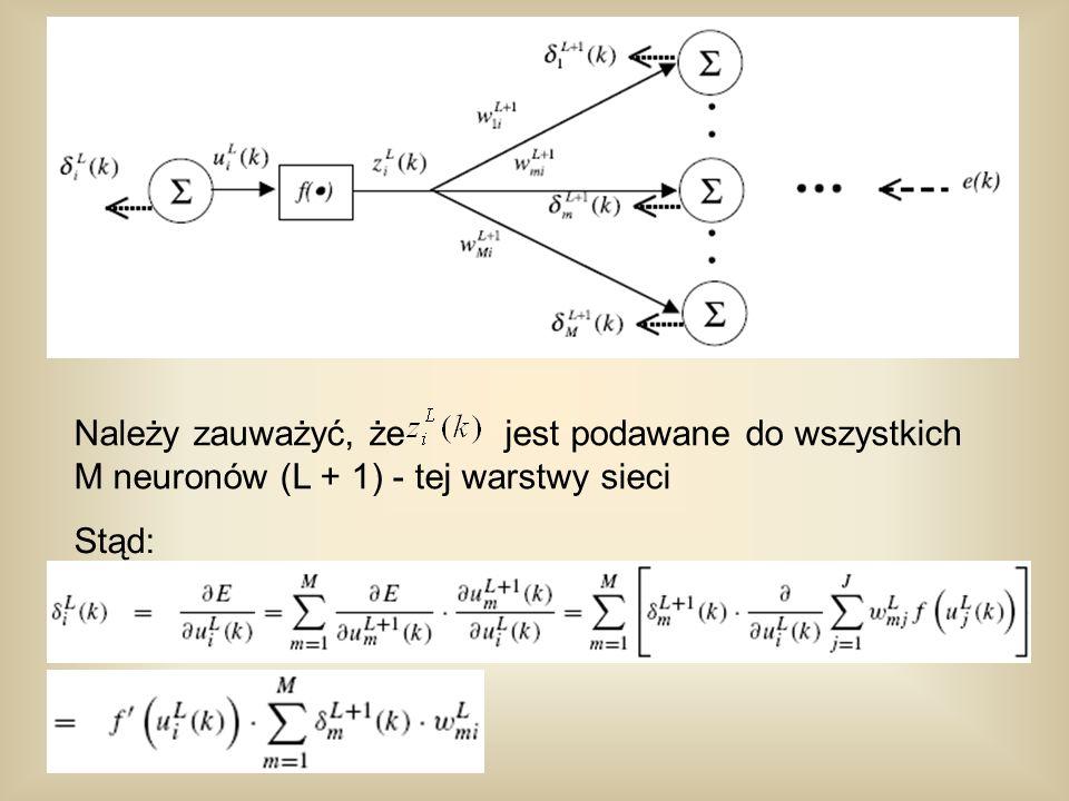 Należy zauważyć, że jest podawane do wszystkich M neuronów (L + 1) - tej warstwy sieci