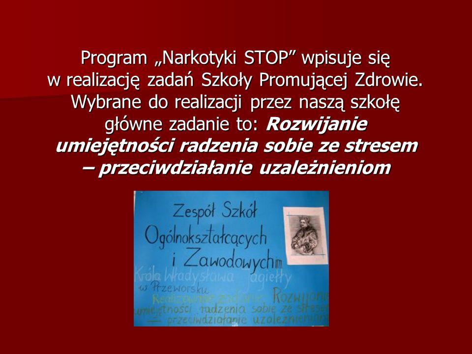 """Program """"Narkotyki STOP wpisuje się w realizację zadań Szkoły Promującej Zdrowie."""