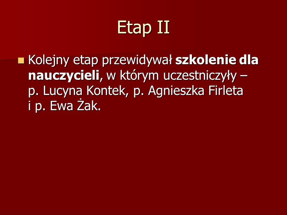 Etap II Kolejny etap przewidywał szkolenie dla nauczycieli, w którym uczestniczyły – p.