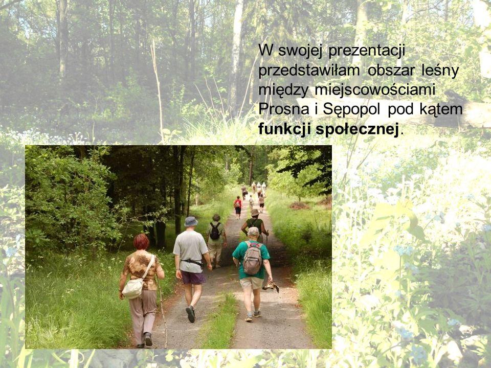 W swojej prezentacji przedstawiłam obszar leśny między miejscowościami Prosna i Sępopol pod kątem funkcji społecznej.