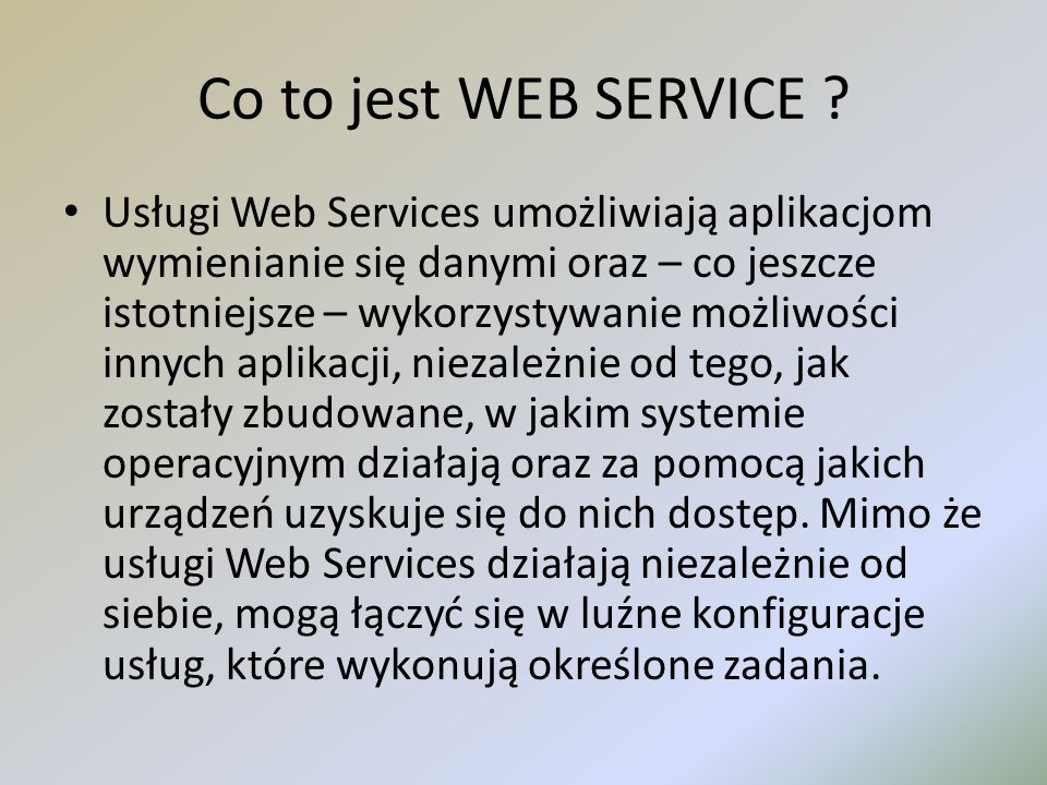 Co to jest WEB SERVICE