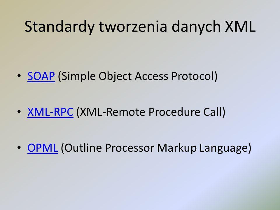 Standardy tworzenia danych XML