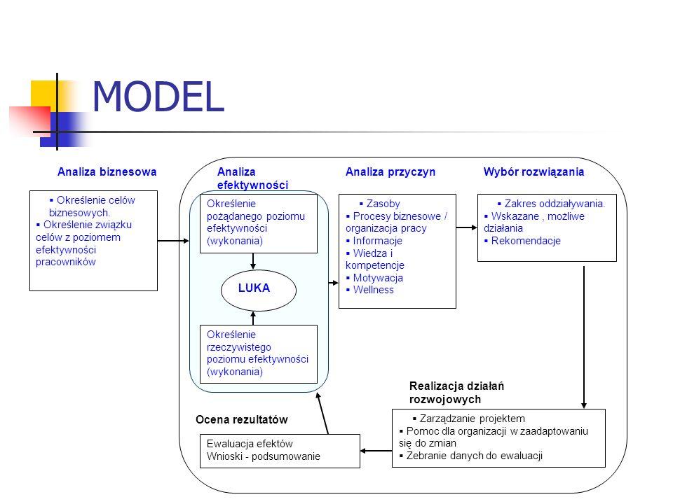 MODEL Analiza biznesowa Analiza efektywności Analiza przyczyn