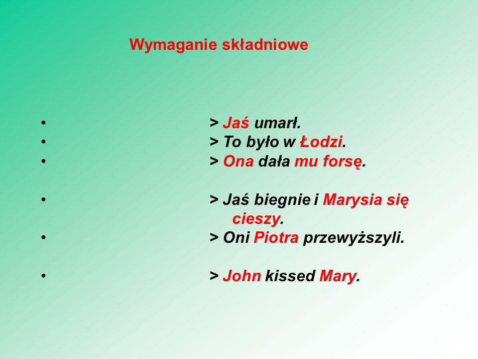 Wymaganie składniowe > Jaś umarł. > To było w Łodzi. > Ona dała mu forsę. > Jaś biegnie i Marysia się cieszy.