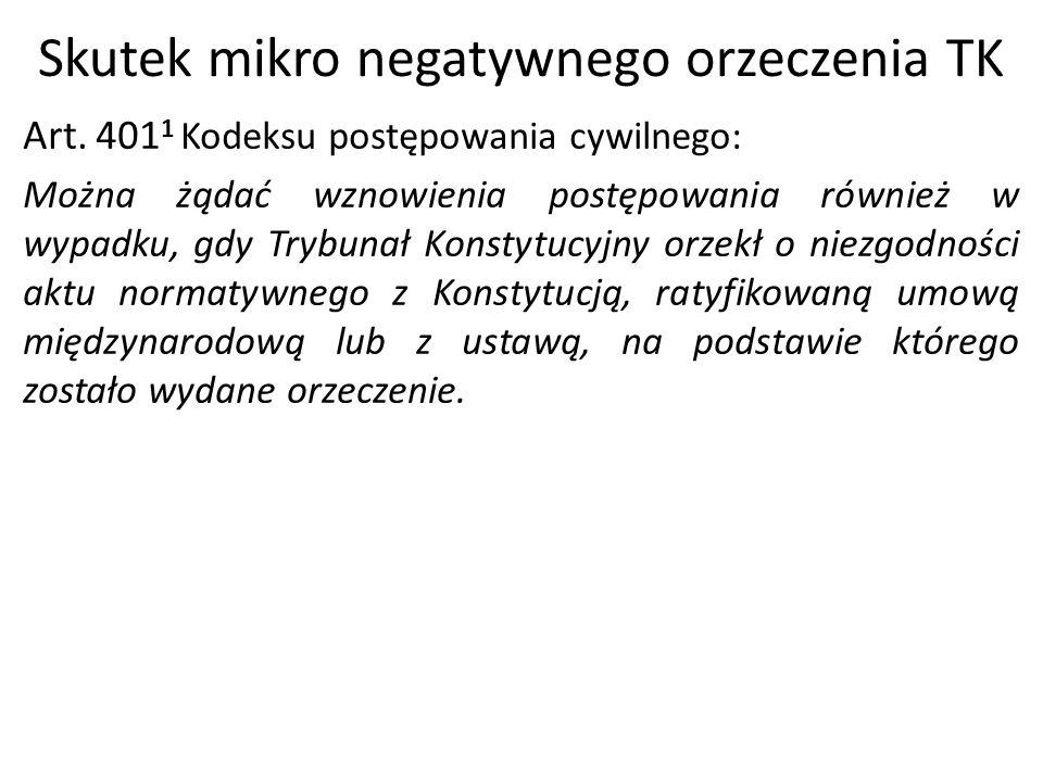 Skutek mikro negatywnego orzeczenia TK