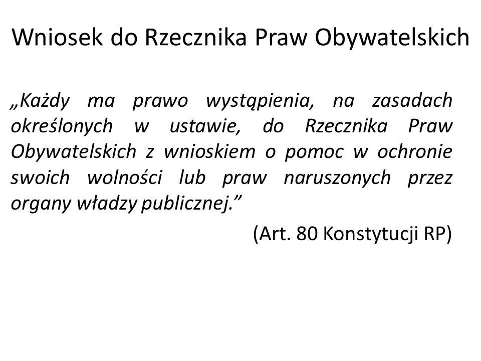 Wniosek do Rzecznika Praw Obywatelskich
