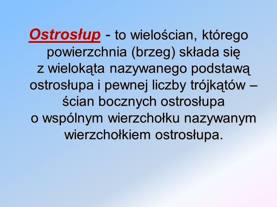 Ostrosłup - to wielościan, którego powierzchnia (brzeg) składa się z wielokąta nazywanego podstawą ostrosłupa i pewnej liczby trójkątów – ścian bocznych ostrosłupa o wspólnym wierzchołku nazywanym wierzchołkiem ostrosłupa.