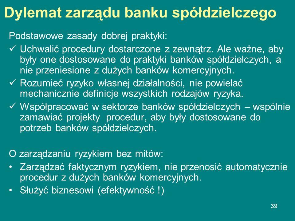 Dylemat zarządu banku spółdzielczego