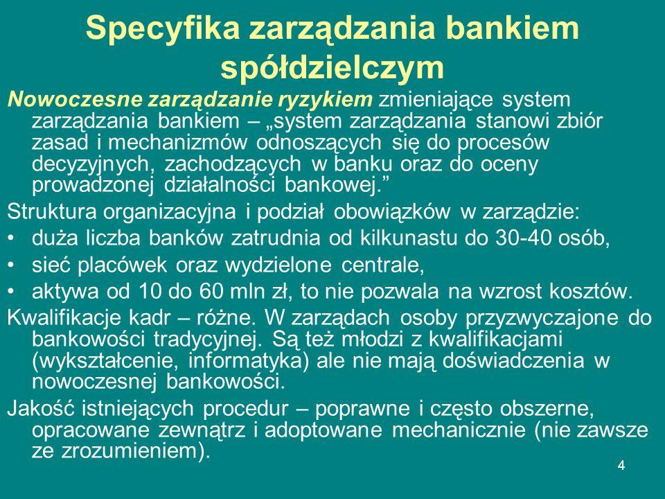 Specyfika zarządzania bankiem spółdzielczym