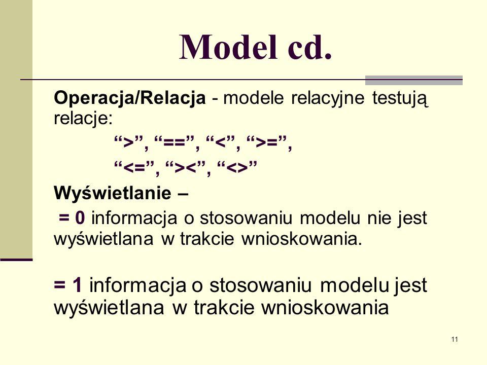 Model cd.Operacja/Relacja - modele relacyjne testują relacje: > , == , < , >= , <= , >< , <>