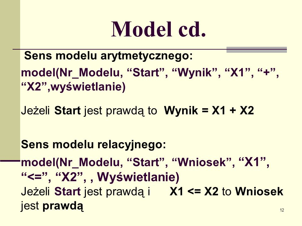 Model cd. Sens modelu arytmetycznego: