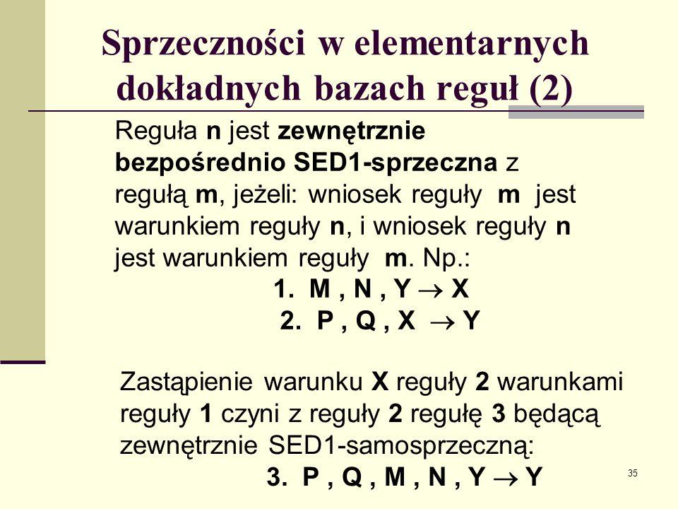 Sprzeczności w elementarnych dokładnych bazach reguł (2)