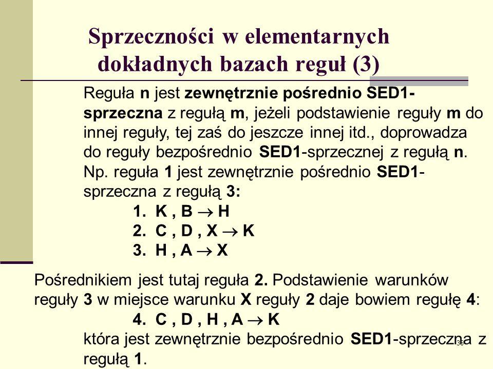 Sprzeczności w elementarnych dokładnych bazach reguł (3)