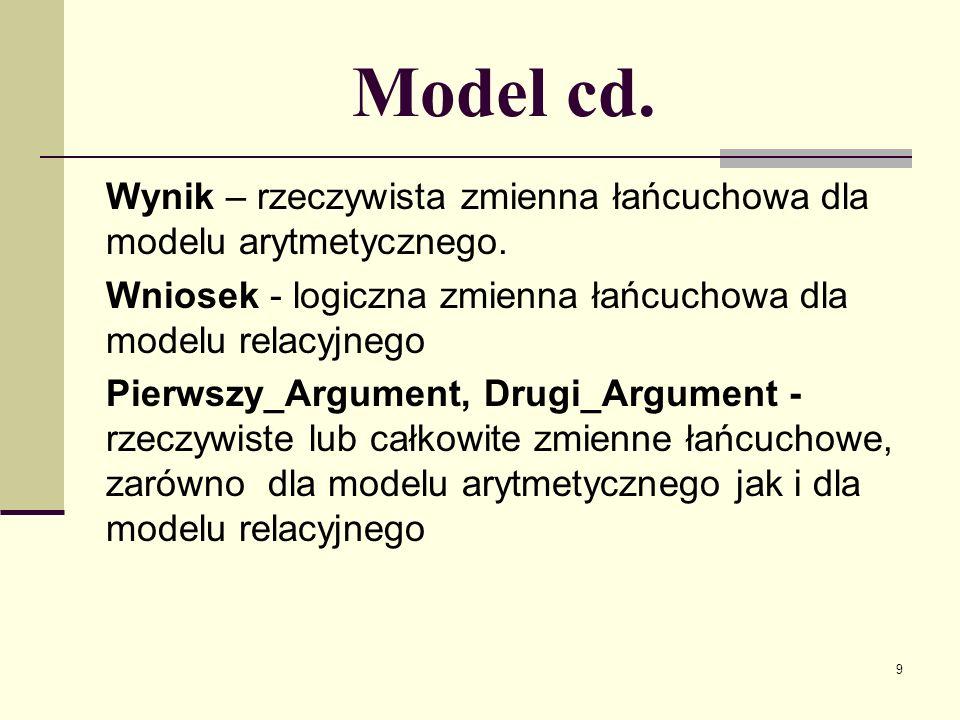 Model cd. Wynik – rzeczywista zmienna łańcuchowa dla modelu arytmetycznego. Wniosek - logiczna zmienna łańcuchowa dla modelu relacyjnego.