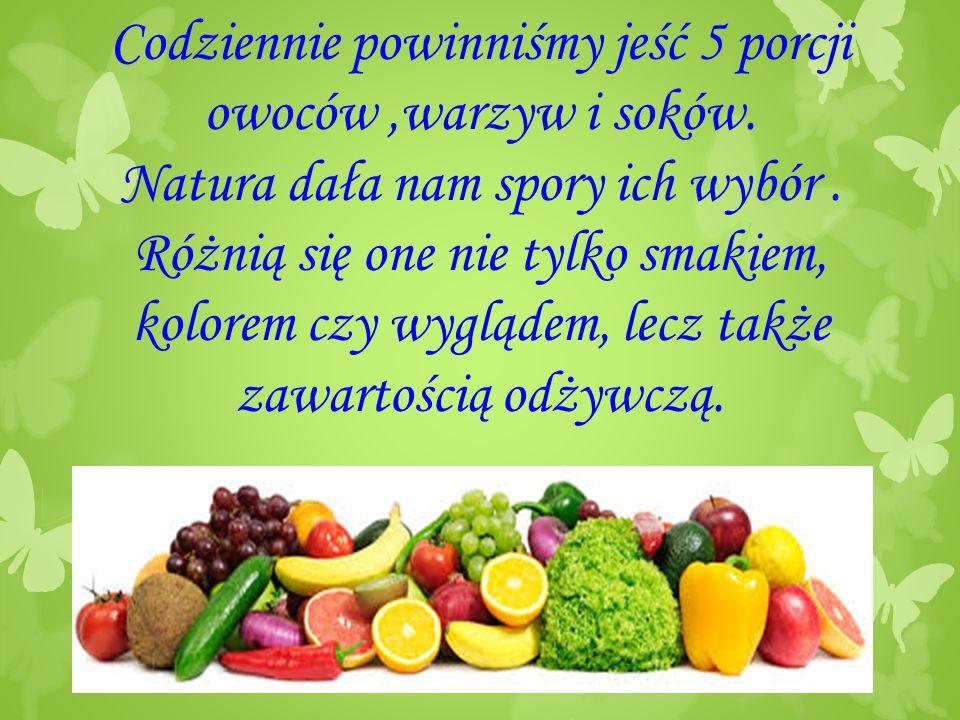 Codziennie powinniśmy jeść 5 porcji owoców ,warzyw i soków
