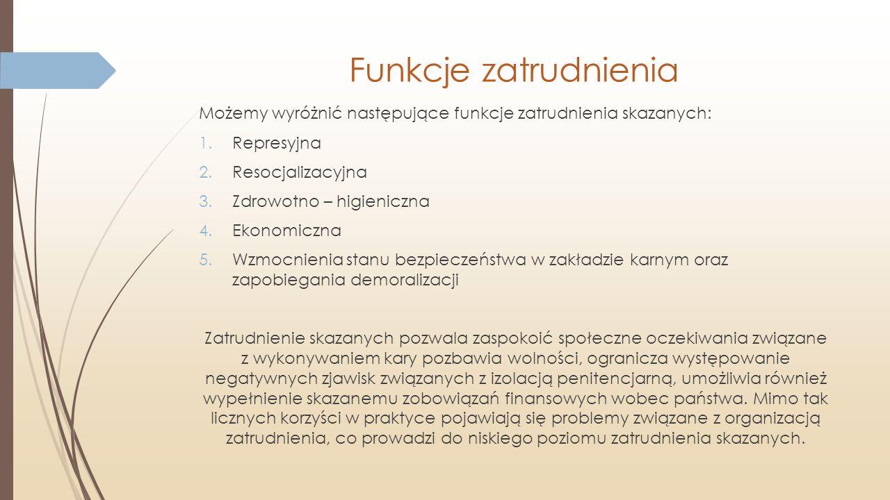 Funkcje zatrudnienia Możemy wyróżnić następujące funkcje zatrudnienia skazanych: Represyjna. Resocjalizacyjna.