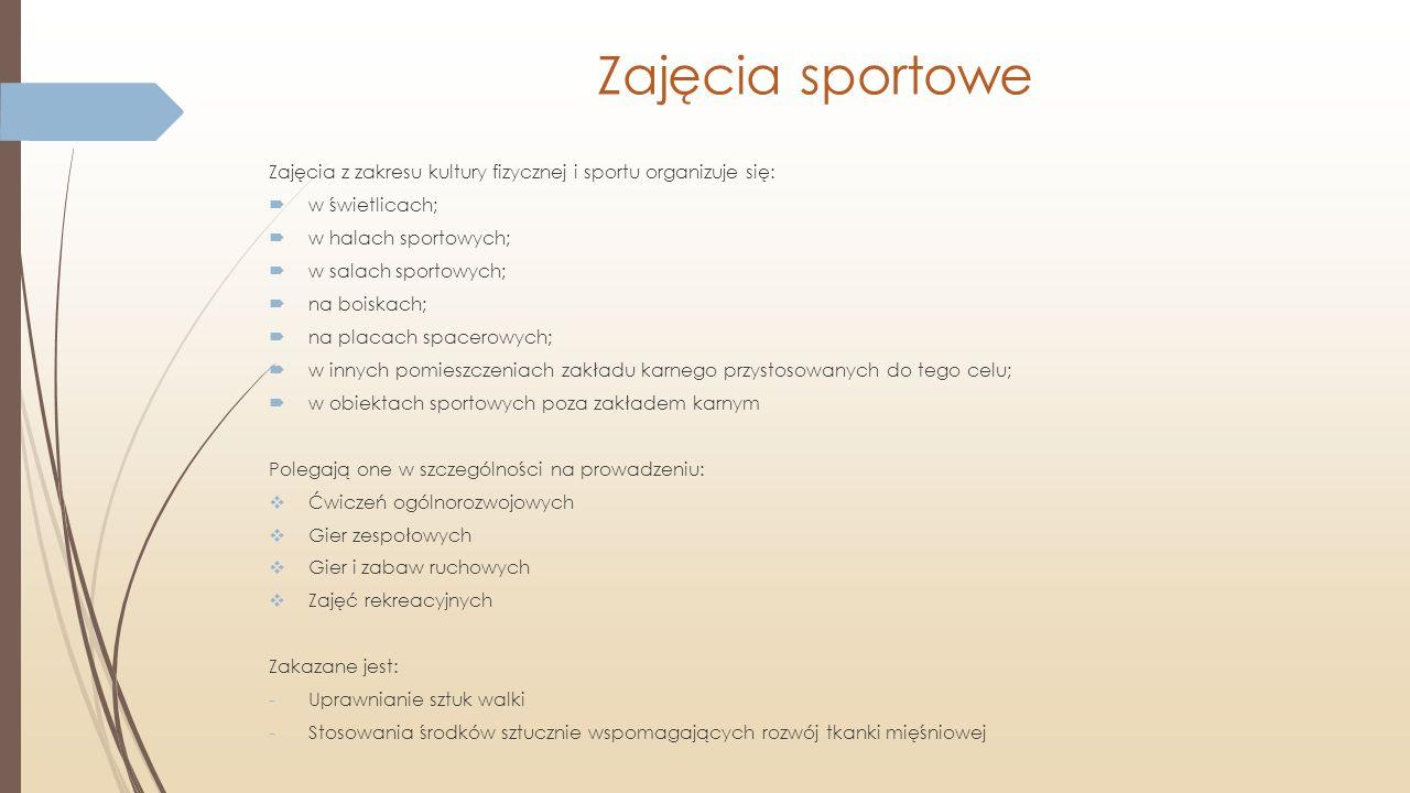 Zajęcia sportowe Zajęcia z zakresu kultury fizycznej i sportu organizuje się: w świetlicach; w halach sportowych;