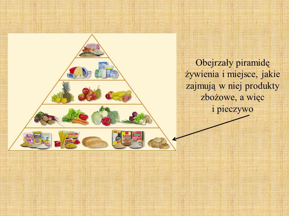 Obejrzały piramidę żywienia i miejsce, jakie zajmują w niej produkty zbożowe, a więc i pieczywo