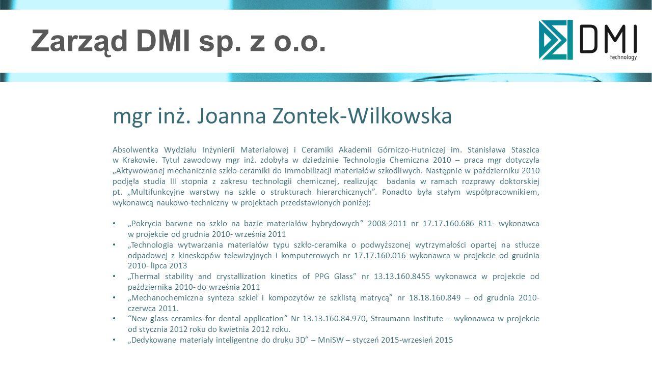 Zarząd DMI sp. z o.o. mgr inż. Joanna Zontek-Wilkowska