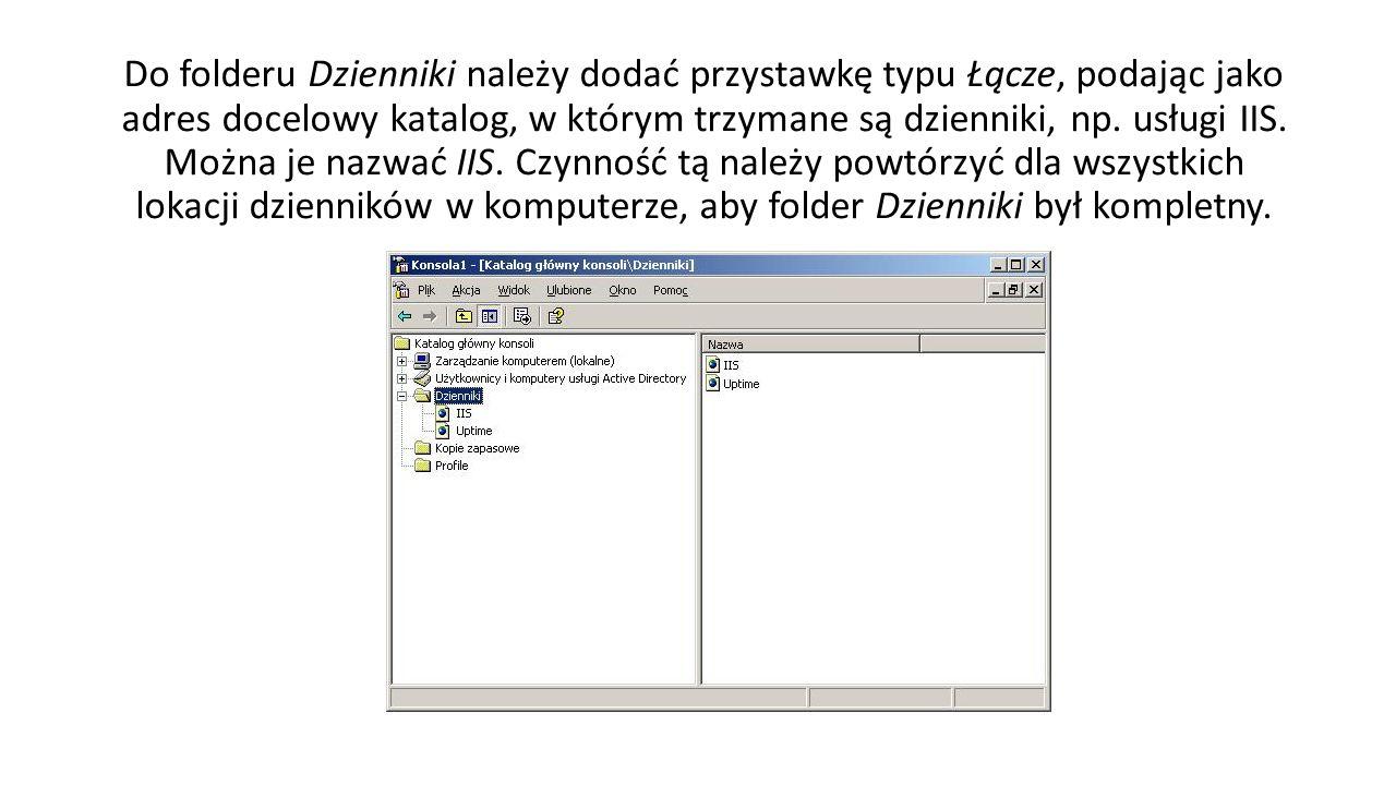 Do folderu Dzienniki należy dodać przystawkę typu Łącze, podając jako adres docelowy katalog, w którym trzymane są dzienniki, np.