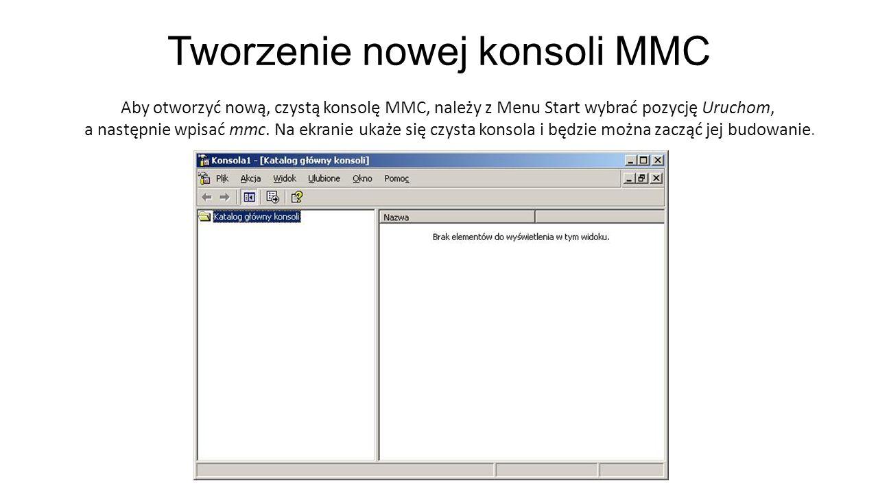 Tworzenie nowej konsoli MMC