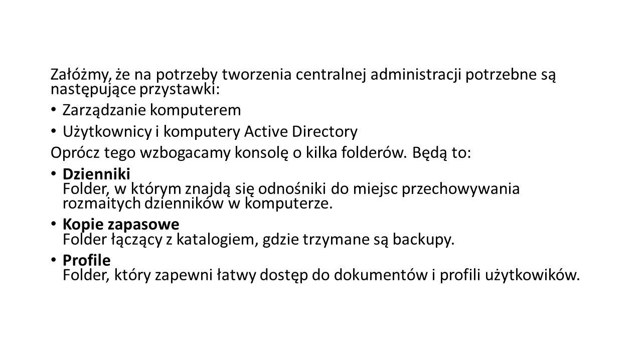 Załóżmy, że na potrzeby tworzenia centralnej administracji potrzebne są następujące przystawki: