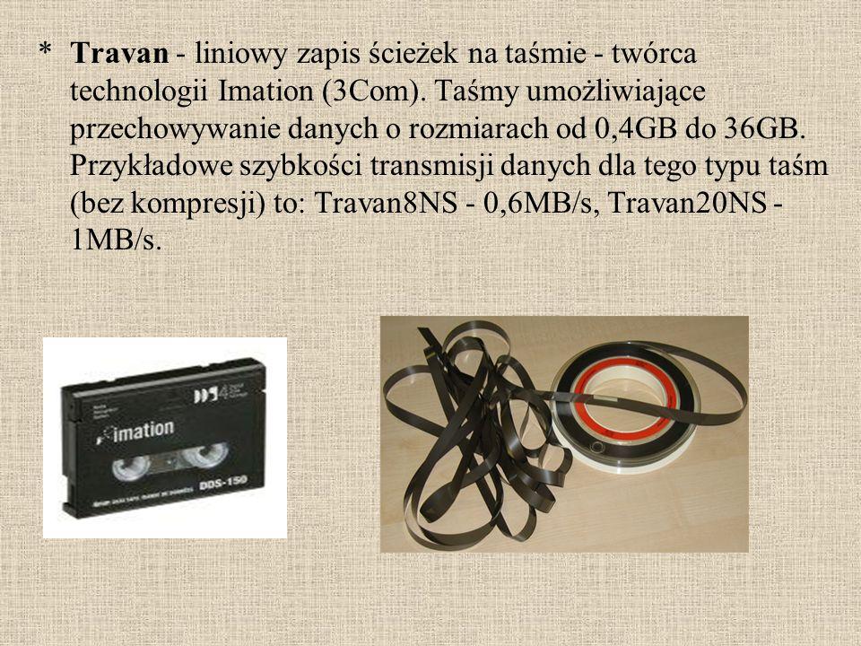 Travan - liniowy zapis ścieżek na taśmie - twórca technologii Imation (3Com).