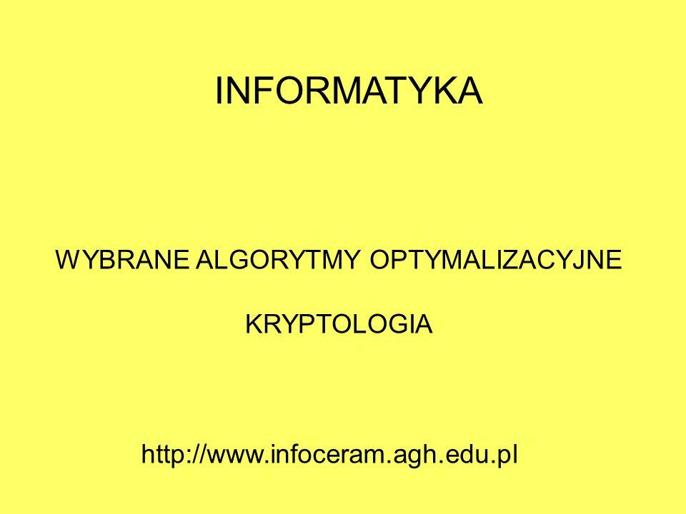 WYBRANE ALGORYTMY OPTYMALIZACYJNE