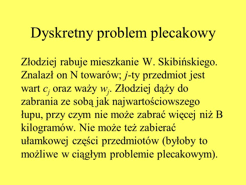 Dyskretny problem plecakowy