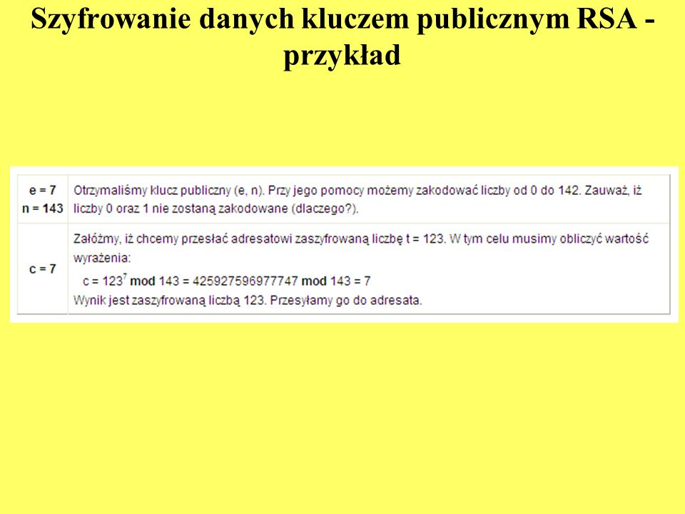 Szyfrowanie danych kluczem publicznym RSA - przykład