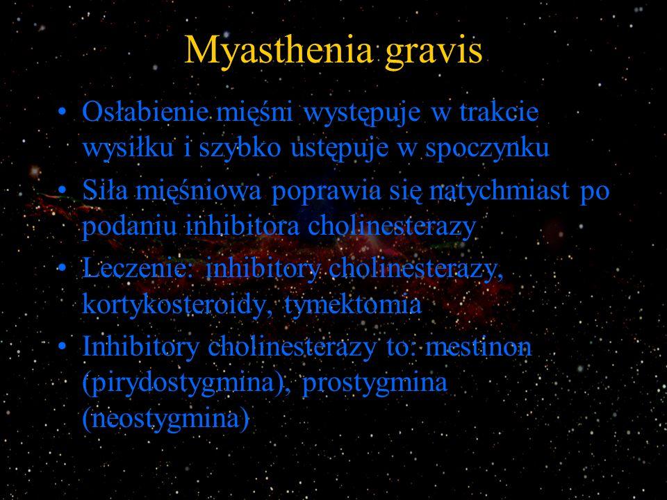 Myasthenia gravis Osłabienie mięśni występuje w trakcie wysiłku i szybko ustępuje w spoczynku.