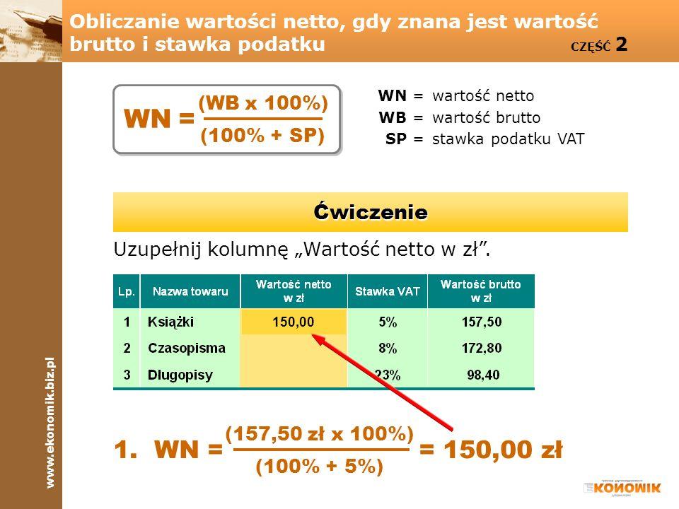 Obliczanie wartości netto, gdy znana jest wartość brutto i stawka podatku CZĘŚĆ 2
