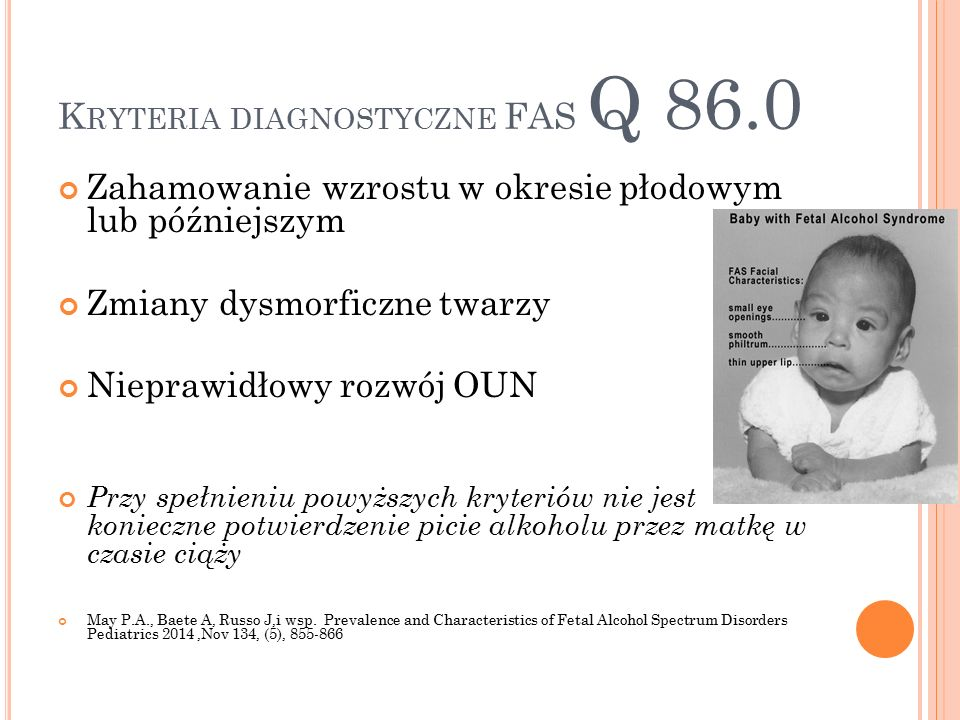 Kryteria diagnostyczne FAS Q 86.0