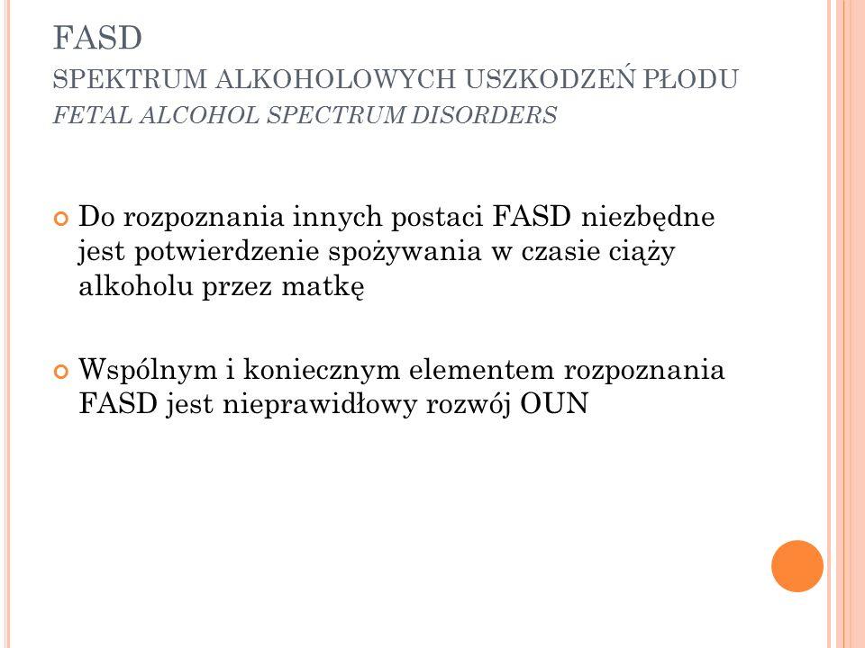 FASD spektrum alkoholowych uszkodzeń płodu fetal alcohol spectrum disorders