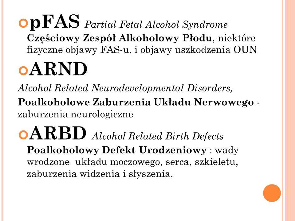 pFAS Partial Fetal Alcohol Syndrome Częściowy Zespół Alkoholowy Płodu, niektóre fizyczne objawy FAS-u, i objawy uszkodzenia OUN