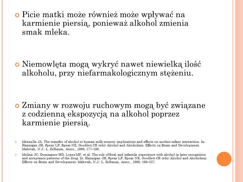 Picie matki może również może wpływać na karmienie piersią, ponieważ alkohol zmienia smak mleka.