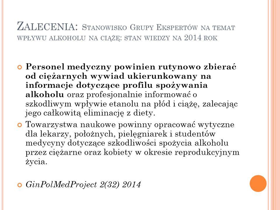 Zalecenia: Stanowisko Grupy Ekspertów na temat wpływu alkoholu na ciążę: stan wiedzy na 2014 rok